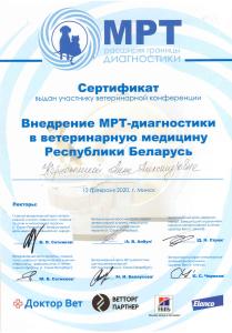 Сертификат Керножицкая МРТ-диагностика