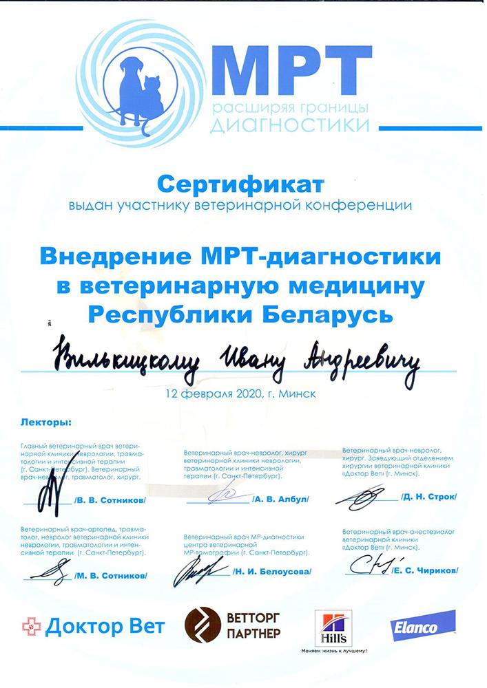 Сертификат Вилькицкий МРТ_2